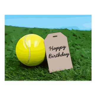 Tennis ball with blank tag Happy Birthday Postcard