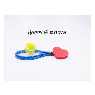 Tennis ball with blue racket birthday card