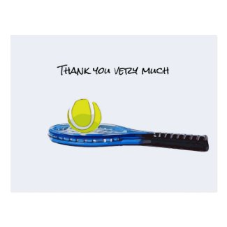 Tennis ball with blue racket Thank you card
