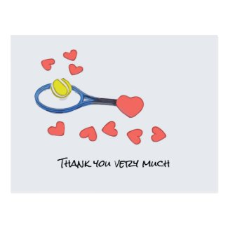 Tennis ball with blue racket Thank you with love Postcard