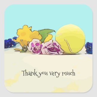 Tennis ball with colorful flowers thank you square sticker