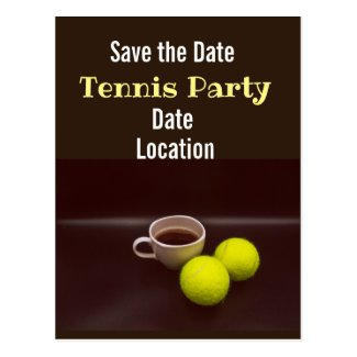 Tennis ball with cup of coffee you got served postcard
