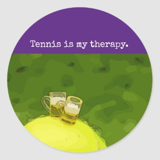 Tennis ball with glasses of beer my therapy classic round sticker