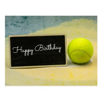 Tennis ball with happy birthday sign postcard
