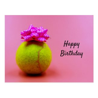 Tennis ball with happy birthday word on pink  postcard