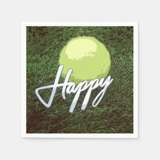 Tennis ball with happy word on green grass napkins