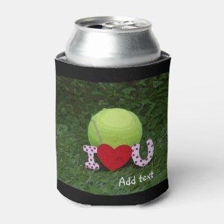 Tennis ball with I LOVE You sign Valentine's Day Can Cooler