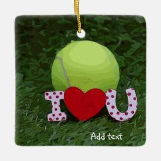 Tennis ball with I LOVE You sign Valentine's Day Ceramic Ornament