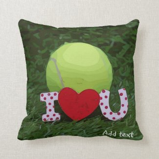 Tennis ball with I LOVE You sign Valentine's Day Throw Pillow