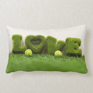Tennis ball with love letter on green grass lumbar pillow