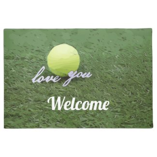 Tennis ball with love life is better on the court doormat