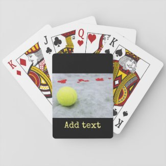 Tennis ball  with love playing cards