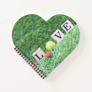 Tennis ball with  LOVE  wooden sign Valentine Notebook