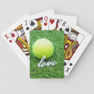 Tennis ball with love you on green grass playing cards
