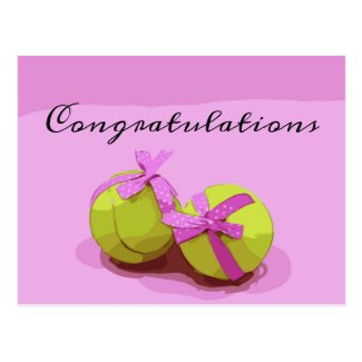 Tennis ball with pink ribbon Congratulations Postcard