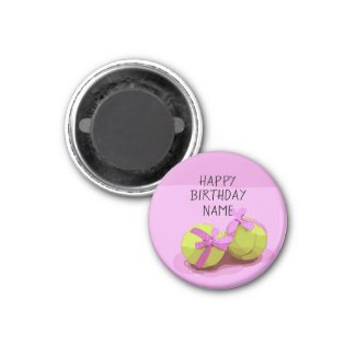 Tennis ball  with pink ribbon on pink birthday   magnet