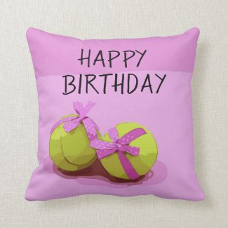 Tennis ball  with pink ribbon on pink birthday  throw pillow