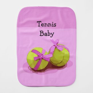 Tennis ball  with pink ribbon on pink girly  baby burp cloth