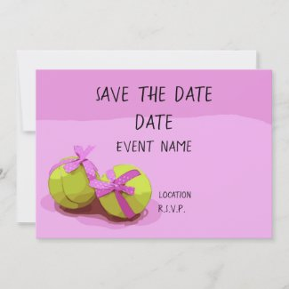 Tennis ball with pink ribbon on pink save the date invitation
