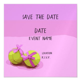 Tennis ball with pink ribbon on pink save the date magnetic invitation