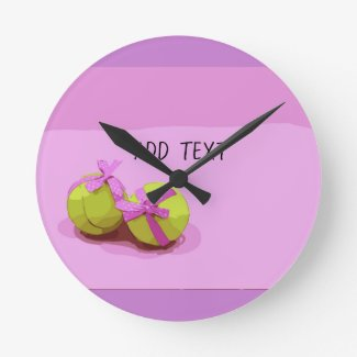 Tennis ball with pink ribbon on pink shade girly round clock