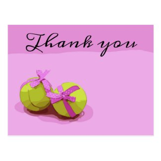 Tennis ball with pink ribbon on pink Thank you Postcard