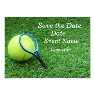 Tennis ball with racket on green grass invitation