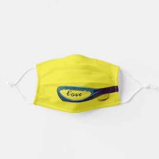 Tennis ball with racket on yellow background cloth face mask