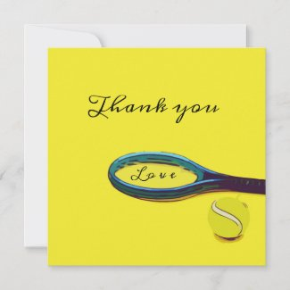 Tennis ball with racket on yellow Thank you Card