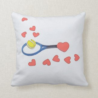 Tennis ball with racket with lots of love on grey throw pillow