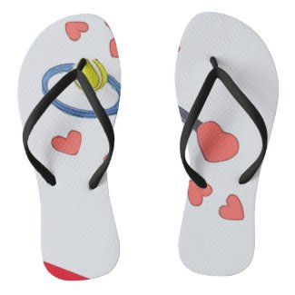 Tennis ball with racket with love flip flops