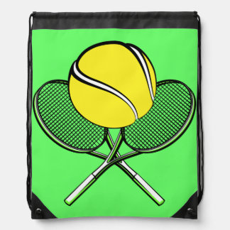 Tennis Ball with Racquets Drawstring Backpack