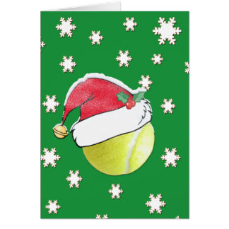 Tennis Ball With Santa Hat Christmas Card