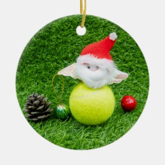 Tennis ball with Santa hat Christmas Ceramic Ornament