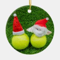 Tennis ball with Santa hat Christmas Ceramic Ornament