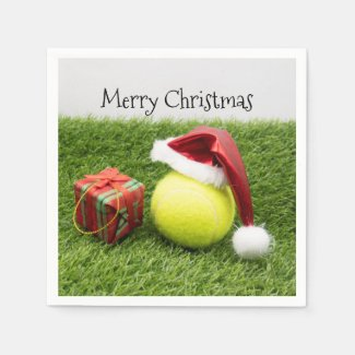 Tennis ball with Santa hat Christmas Paper Plate Napkins