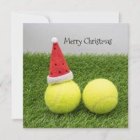 Tennis ball with Santa hat for Christmas Holiday Card