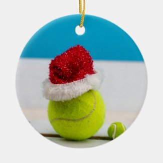 Tennis ball with Santa hat for Christmas Holiday Ceramic Ornament