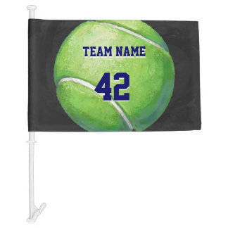 Tennis Ball with Team Name and Number Car Flag