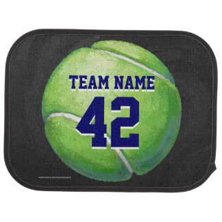Tennis Ball with Team Name and Number Car Mat