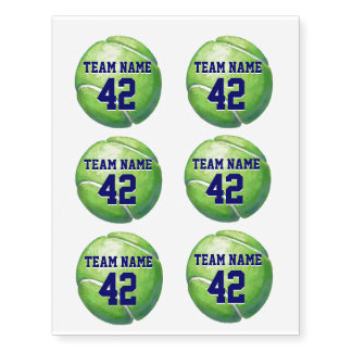 Tennis Ball with Team Name and Number Temporary Tattoos