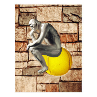 Tennis ball with thinker statue postcard
