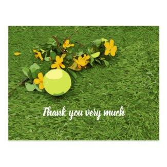 Tennis ball with yellow flower thank you postcard