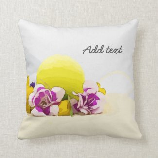 Tennis ball with yellow flowers throw pillow