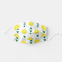 Tennis Balls and Dark Green Hearts with Dots Cloth Face Mask