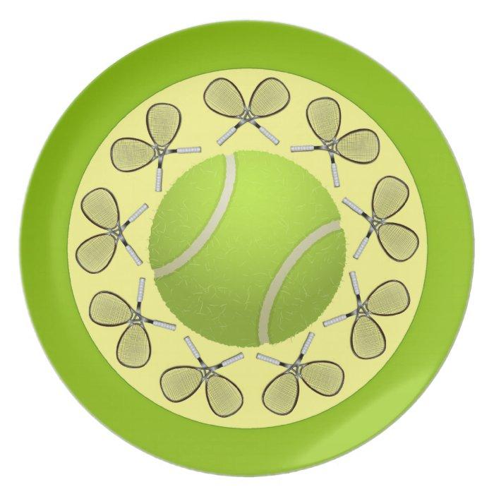 Tennis Balls and Rackets Dinner Plate
