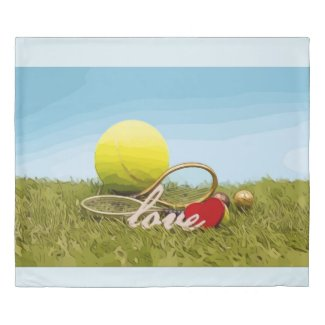 Tennis balls and rackets with love on green duvet cover