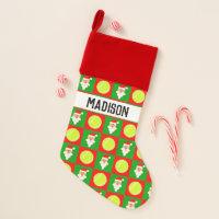 Tennis Balls and Santa Pattern Custom Player Name Christmas Stocking