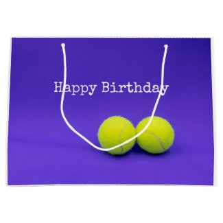 Tennis balls are on purple background birthday large gift bag