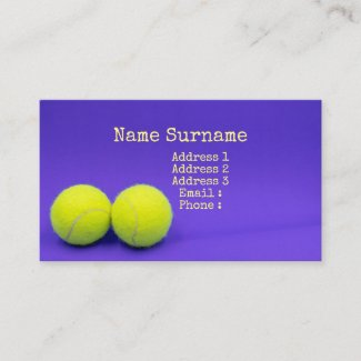 Tennis balls are on purple background business card